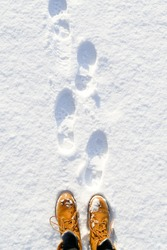 Top view of shoes / boots footprint in fresh snow. Winter season.