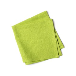Top view of single folded green linen serviette isolated on white background