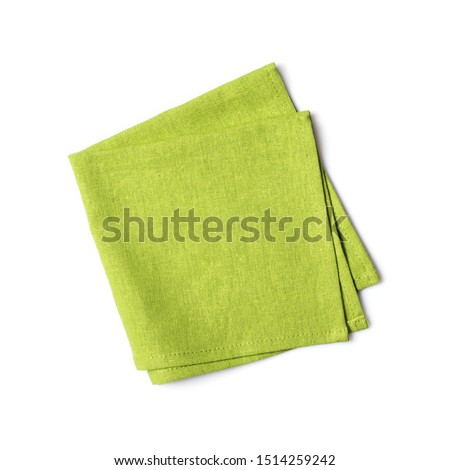 Top view of single folded green linen serviette isolated on white background Stok fotoğraf ©
