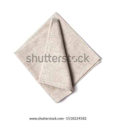 Top view of single folded light gray linen serviette isolated on white background Stock photo ©