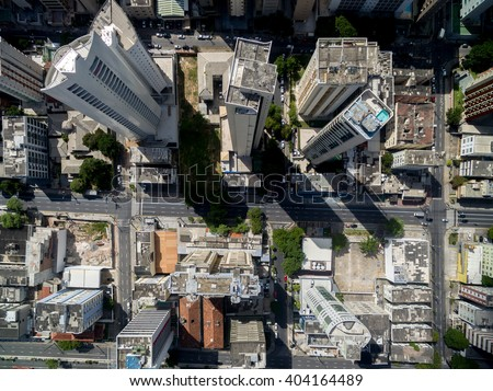 Top View of Skyscrapers in a Big City
