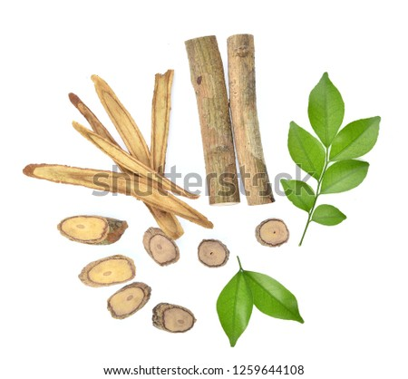 Top view of Slice Licorice roots on white background Foto stock ©
