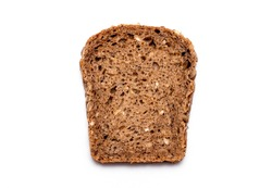 Top view of Slice multi Grain brown Bread isolated on white Background