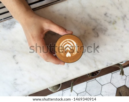 top view of small latte , cafe latte , piccolo latte on white marble background. #1469340914