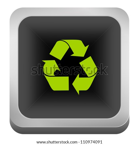 Top View of Square Silver Metallic Style Recycle Bin With Green Recycle Sign For Recycle and Conservation Concept Isolate on White Background