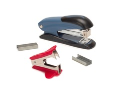 Top view of stapler, staple remover and staples isolate on a white background.
