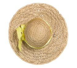 top view of straw hat on white