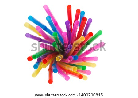 Top view of Straw plastic straw drink straws. #1409790815