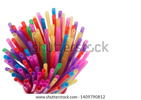 Top view of Straw plastic straw drink straws. isolated on white with copy space. #1409790812
