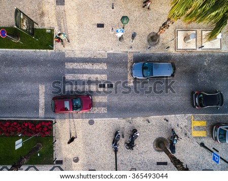 Top View of Street with Palm Trees in a Beach