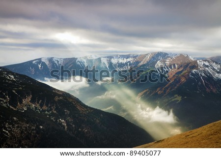 Top view  of Tatra mountain and sun ray