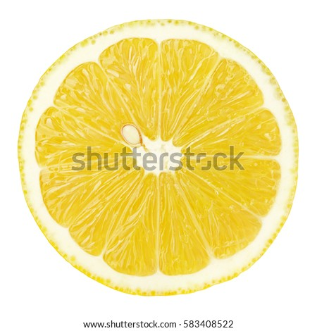Top view of textured ripe slice of lemon citrus fruit isolated on white background. Lemon slice with clipping path