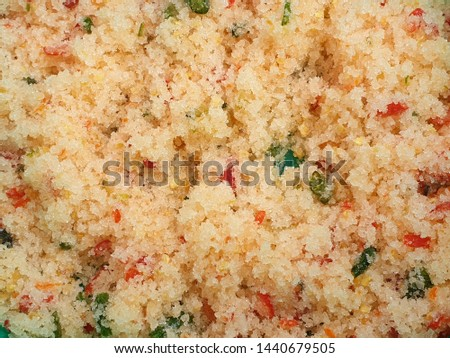 Top view of Thai dipping sauce with sugar, salt and chili as a background, ready to eat with fruit that has a sour taste