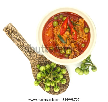 Top view of thai food - panang curry with pork on white #314998727