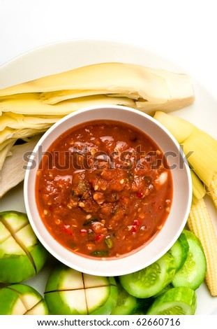 Top view of Thai food spicy sauce with vegetable