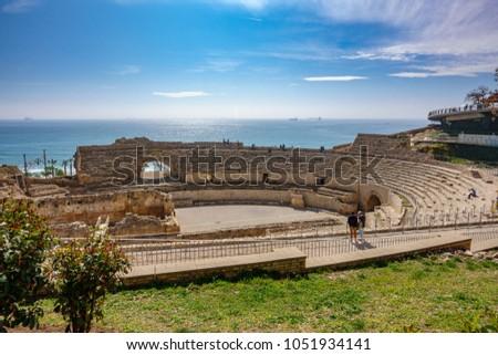 Top view of the ancient roman amphitheater of Tarragona next to the Mediterranean sea Zdjęcia stock ©