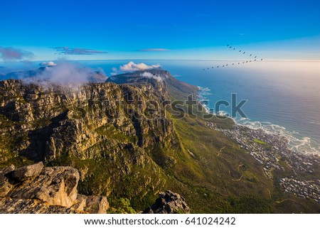 Top view of the Atlantic Ocean. National Park Table Mountain, Cape Town