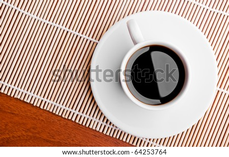 Top view of the black coffee in white cup