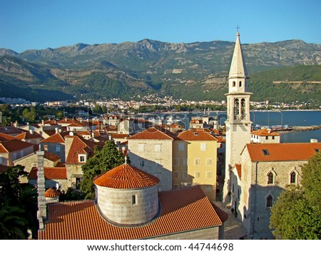 Top view of the Budva Old town, Montenegro
