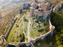 Top view of the castle Castillo de Loarre. Huesca Province. Aragon. Spain