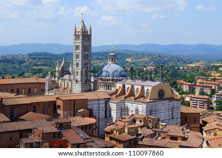Top view of the Cathedral of Siena, Italy