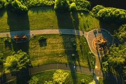 Top view of the city Park in Chizhovka.Recreation Park with bike paths in Minsk.Belarus
