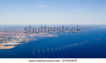 Top view of the Copenhagen and the wind turbine, near the Copenhagen airport, Denmark
