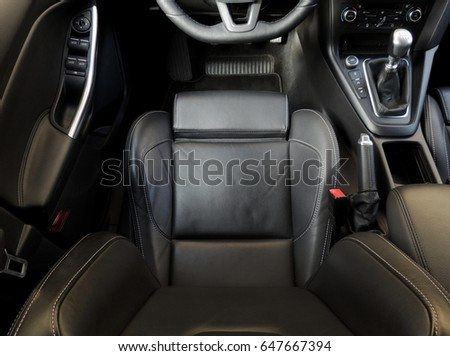 Top view of the driver's seat with active lateral support inside the sport car stock image  #647667394