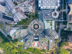 Top view of the Fountain of Wealth as the largest fountain in the world at Singapore. It is located in one of Singapore largest shopping malls.