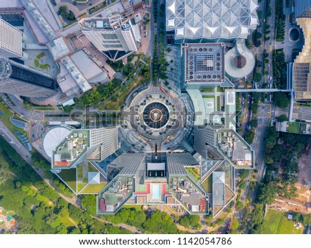 Top view of the Fountain of Wealth as the largest fountain in the world at Singapore. It is located in one of Singapore largest shopping malls. #1142054786