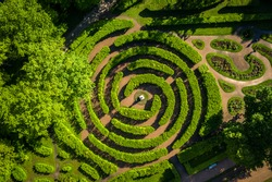 top view of the hedge maze in Pavlovsk park in summer