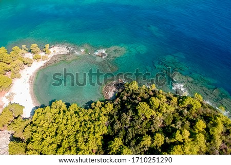 Top view of the lagoon near the old town of Fazelis. Beautiful park on the Mediterranean coast. Top view of the reserve. tourist attraction and top places in Turkey