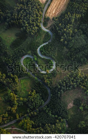 Top view of the path through the trees. View from balloon