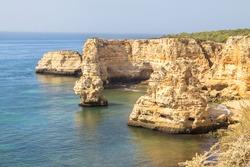 Top view of the Praia Marinha in Portimao, Algarve region, Portugal