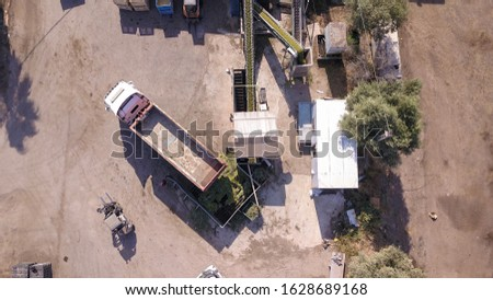 Top view of the process of producing olive oil in a local Press factory.