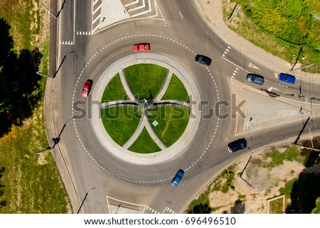 Top view of the road with a circular motion. #696496510