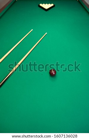 Top view of the Russian pool table with white balls pyramid,American pyramid,Dynamic pyramid,Siberian pyramid,Nevsky pyramid,Moscow pyramid games with the cue ball.