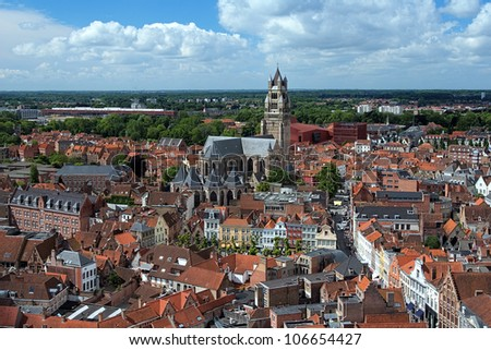 Top view of the Saint Salvator Cathedral and Old Town of Bruges, Belgium