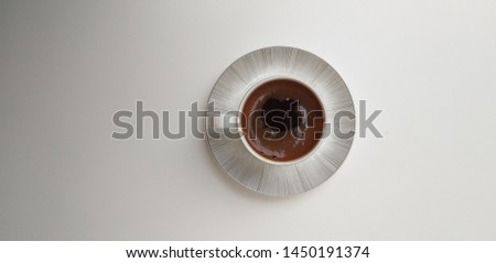 top view of the sigler espresso cup,coffee cup in the white cup and white background  #1450191374