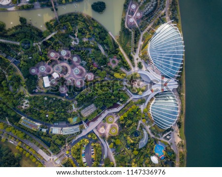 Top view of the Singapore landmark. Singapore city downtown drone view. #1147336976