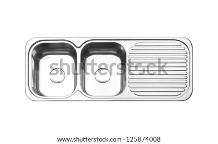 Top view of the sink cleaning dish isolated on white