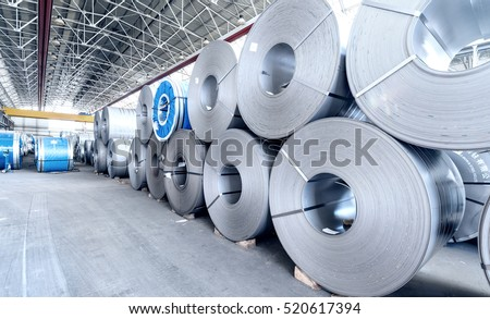 Top view of the stock rolls of sheet steel of company.