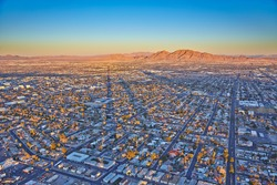 Top view of the sunset, mountains and houses, Las Vegas, Nevada, USA