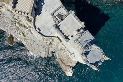 Top view of the swallow's nest castle, located on a rock jutting out into the sea.