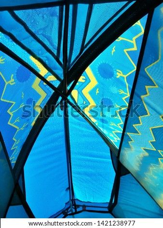 Top view of the tent with rain drops on it from inside - Structure of camping tent #1421238977
