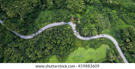 top view of the the road in...
