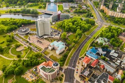 Top view of the Victory Park in Minsk and the Svisloch river and the hotel.A bird's-eye view of the city of Minsk and the Park.Belarus