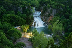Top view of the waterfall in Oklahoma state, USA