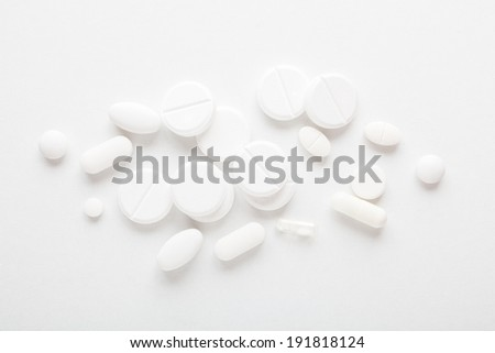 Top view of the white pills  #191818124