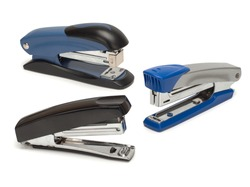 Top view of three staplers isolated on a white background.